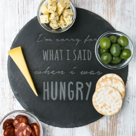 Personalised Engraved 'when i was hungry' Slate Chopping Board